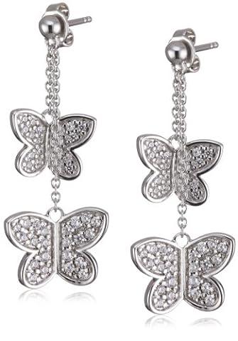 Esprit Damen-Ohrstecker shiny butterfly 925 Sterlingsilber 82 Zirkonia farblos ESER91260A000