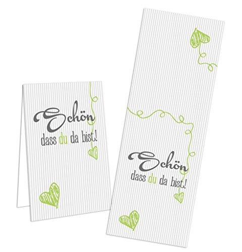 25 Stück grün grau silber hellgrün gestreift HERZ - SCHÖN DASS DU DA BIST - Gastgeschenke Aufkleber Geschenkaufkleber Hochzeit Geburtstag Sticker Tischkarten Basteln Papiertüten zukleben Verpackung