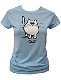 Red Dog Wear Womens 'Snow White' Cat T.Shirt. SkyBlue