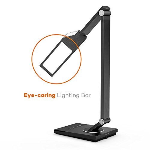 LED Desk Lamp , TaoTronics Stylish Metal Design Table Lamps, Reading Light, Office Light, For Bedrooms and Office ( 5 Color Modes x 6 Dimable Levels, Memory / Favorite Function LED Desk Light, 60-Minute Timer, Lamps For Living Room )