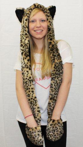 ILOVEFANCYDRESS Leopard Animal Print Kapuze Schal und Fäustling All in One Set Kunstfell Damen Qualität flauschig mit Kapuze mit Ohren und Taschen Damen (Leopard Kapuzen Schal)