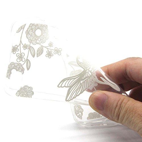 iphone 5 Coque / iphone 5S Housse, MYTHOLLOGY Dessin animé Loup 3D Flexible Slim Silicone TPU Transparente Anti-Rayure extrêmement Mince Arrière Housse Etui Oiseau & Fleur