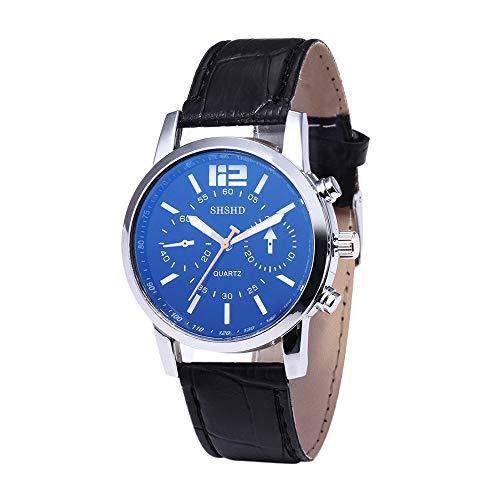Mode Neue Uhren,Janly Blue-Ray-Glas-Neutral-Quarz Frauen Männer Uhren Leder Quarz Armbanduhr Luxus Marke Ultra-dünne Armbanduhr Business-Uhren (Schwarz)