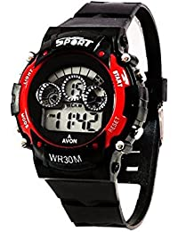 TESLO Sport Digital Round Dial Sport Style Watch With Rubber Strap For Men (Red & Black)
