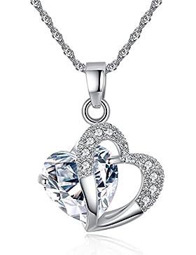 QueenDer Herzensliebe Halskette Anhänger Herz Pullover Kette für Damen Frauen