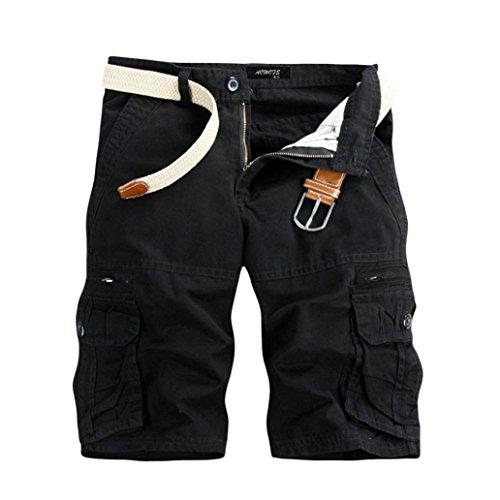 GreatestPAK Pants Pure Color Shorts Herren Outdoor Taschen Strand Arbeit Hosen Cargo Pant,33(L),Schwarz