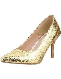 1bb67dac1f4a1d Agodor Damen Glitzer Spitze Pumps mit Stiletto 8cm Absatz High Heels Elegant  Braut Hochzeit Schuhe