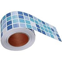 BESTONZON Mosaico adhesivo mosaico impermeable cáscara y azulejo del palillo para la decoración del baño de la cocina (azul)