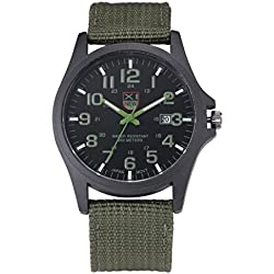 Watches Ularma Mens Date Stainless Steel Sports Analog Quartz Army Wrist Watch Green