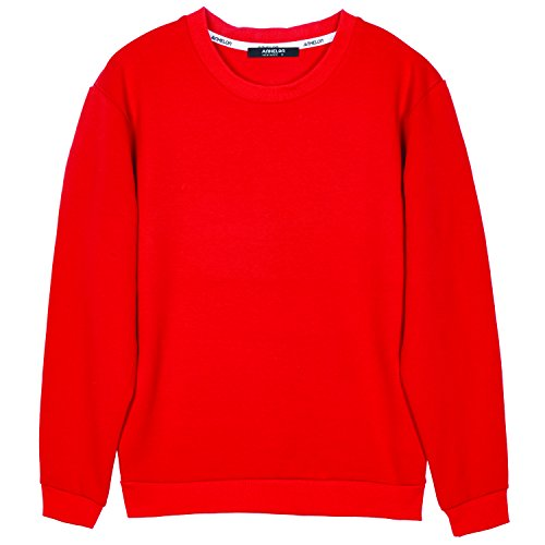 ililily Men Cotton Solid Color Simple Crew Neck Spring Pullover Sweatshirt Top , Candy Apple Red, US-2XL