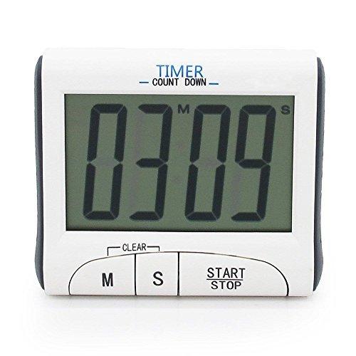 Grand écran LCD Cuisine compte à rebours numérique Count Up Down minuterie de cuisine Alarme/Sport stopwatches avec fonction horloge, blanc