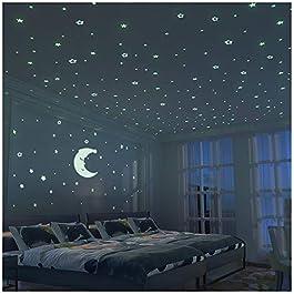 Stelle Fluorescenti e Grande Luna (24cm) – 300 pezzi Adesivi da Parete Fluorescenti per la camera dei Bambini