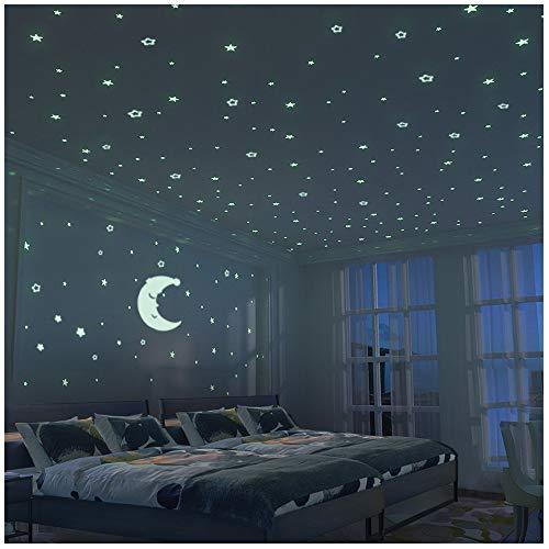 FRETOD Brillante Estrellas y Luna Pegatina de Pared para Dormitorio de Niños...
