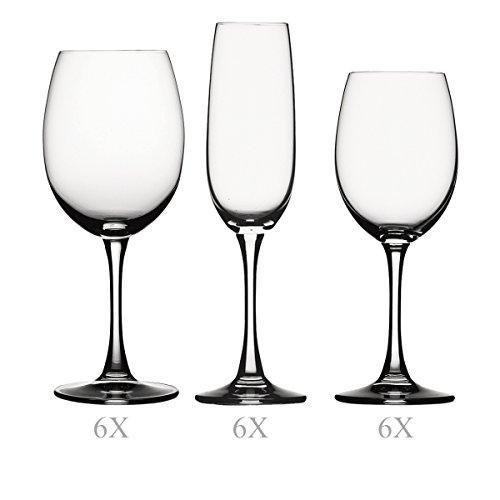 Spiegelau & Nachtmann 18-teiliges Gläser-Set, Rotwein/Weißwein/Champagner, Kristallglas,...