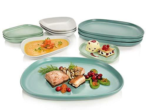 Sänger ovales, handgefertigtes, skandinavisches Gourmet Design-Teller-Set Canberra Tafelservice Geschirrset für 4 Personen 12-teilig in modern, matt Porzellan, Premium, besonders, extravagant Design Teller