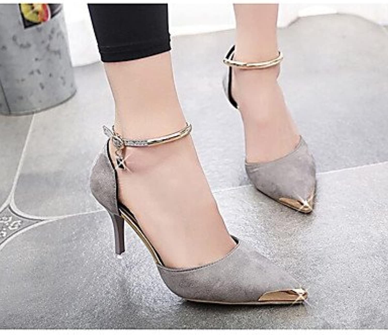 RTRY Las Mujeres'S Wedding Shoes Confort Suede Verano Bodas De Rubí Casual Gris Negro 3A-3 3/4En Gris Us5.5 /...