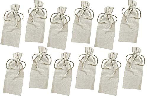 Viel. (nur für $12Stück 19,9) Leinen Wein Taschen mit Kordelzug, Single Flasche Tote perfekt für Hochzeit Favor Taschen, Party Favor Taschen, Werbe Wein Staubbeutel Standard natur