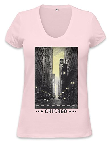 Chicago Vintage Womens V-neck T-shirt XX-Large (Womens T-shirt Retro Chicago)