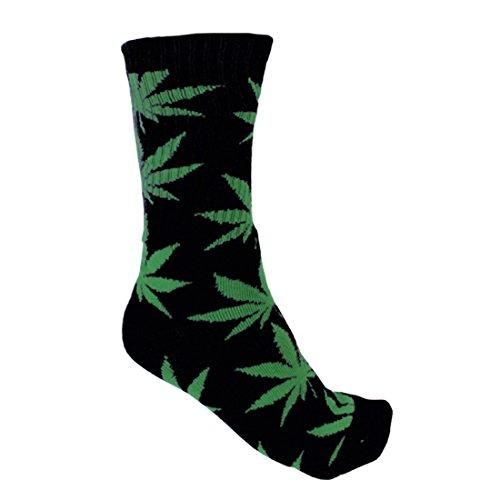 PlantLife Calzini unisex modello marijuana in dimensione universale colori nero/verde
