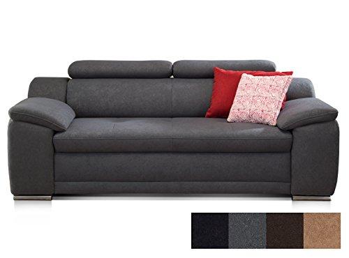 CAVADORE 3-Sitzer Sofa Aniamo/Inkl. Verstellbarer Kopfteile/Modernes Design / 200 x 80 x 95 / Grau