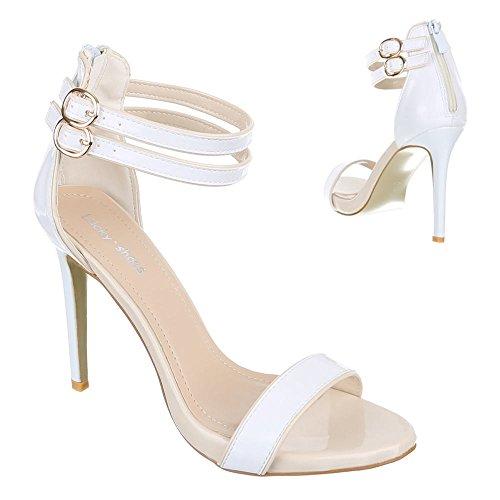 Damen Sandaletten mm 50Chaussures–talons Pompes White - Weiß Beige