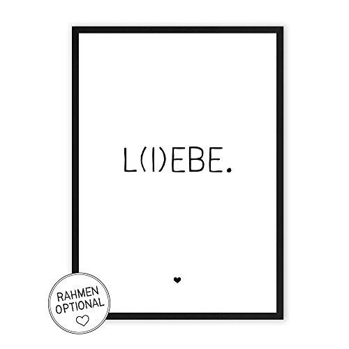 L(I) EBE - Kunstdruck auf wunderbarem Hahnemühle Papier DIN A4 -ohne Rahmen- schwarz-weißes Bild Poster zur Deko im Büro/Wohnung / als Geschenk Mitbringsel zum Geburtstag etc. - Lebe Liebe
