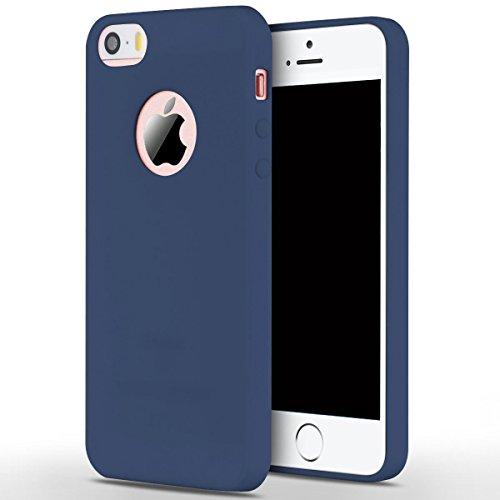 Cover iPhone SE,ToDo iPhone 5S Custodia Silicone Ultra Morbido Satinate Opaco Ultra Sottile TPU Flessibile Gomma Cassa Protettiva Gel [Anti-scivolo] [Anti-Graffio] [Antiurto] Leggero Cellulari Protett Blu navy