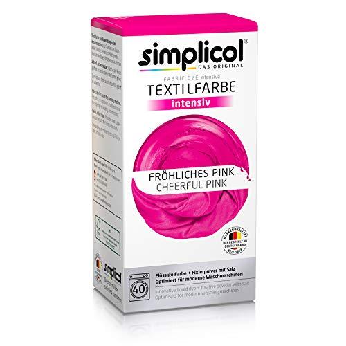 Simplicol Textilfarbe intensiv (18 Farben), Fröhliches Pink 1805: Einfaches Färben in der Waschmaschine, All-in-1 Komplettpackung -