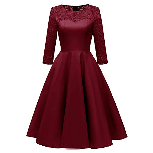 IMJONO Frauen Vintage Prinzessin Florale Spitze Cocktail O-Neck Party Aline Swing Dress (EU-40/CN-XL,Weinrot)