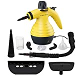 Multi-Purpose Handheld Pressurized Steam Cleaner by Comforday with 9-Piece Accessory Kit for Stain Removal, Floor Steamer, Carpets, Curtains, Car Seats, Upholstery & Much More (Yellow)