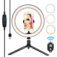 Ring Light with Stand and Phone Holder 10 Inch 10 LED 3 Colors USB Desktop Selfie Ring Light Tripod Stand iPhone Cell Phone Holder and Remote Control for Photography Makeup Live Streaming