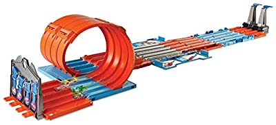Hot Wheels FTH77 Builder Race Crate Connectable Track Set with Loops, 2 Diecast and Mini Toy Cars, Multi-Colour
