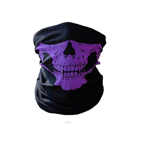 Butterme Nahtlose Schädel Face Tube Maske Motorrad Gesicht Maske-Winddicht Anti-Staub Tube Gesichtsmaske Half Face für Outdoor Riding (Masken Lila)