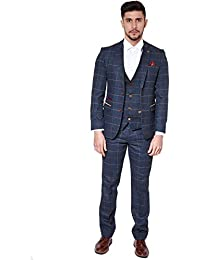 Marc Darcy Mens 3 Piece Slim Fit Navy Multi Tonal Check Tweed Inspired Casual Business Wedding