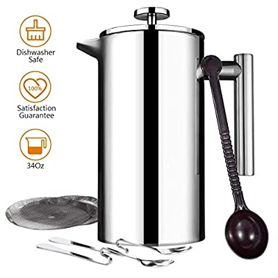 Topelek Cafetiere, French Press with Stainless Steel,Double Wall Coffee Maker, 1 Measuring Scoop, 2 Filter Screen, Trip, Home, Office from TOPELEK