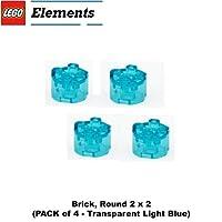 Lego Parts: Brick, Round 2 x 2 (PACK of 4 - Transparent Light Blue)