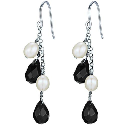 Valero Pearls Orechinni pendenti da Donna in Argento Sterling 925 con rodio con Perle coltivate d'acqua dolce bianco e Onice nero 60840019