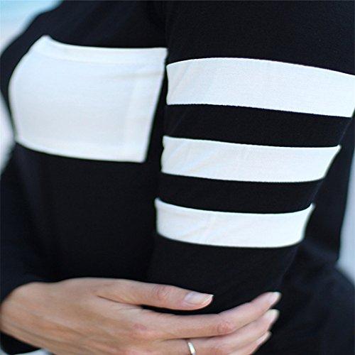 Vovotrade ❤❤Heiß !!! Womens Langarm Rundhals Spleiß Shirt Baumwollmischung Schwarz