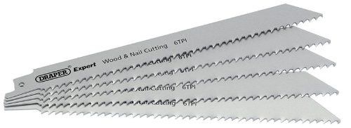 Tpi Bi-metal Reciprocating Saw (Draper Expert Bi-Metall Stichsägeblätter 6Tpi für Holz und Nägel 5er Pack)