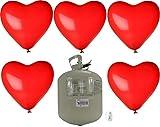 Helium Ballongas Einwegflasche mit 40 roten Herzballons ø30 cm, Schwebezeit bis 8 Std.,Tragkraft: 4 g