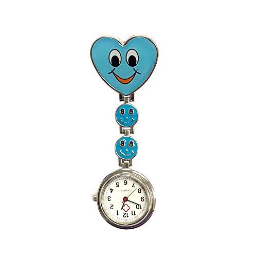 NiceButy Krankenschwesternuhr, Herzform, Quarz, Uhrwerk, Schwestern-Clip, Brosche, Tunika, Smiley-Gesicht, Hanging-Stil, Blau