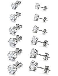Boucles d'oreilles 6Paires Clous d'oreilles- Oxyde de Zirconium - Acier Inoxydable - Pour Homme Femme - Couleur Blanc Noir - 3-8mm Cadeau Saint-Valentin Nouvel An