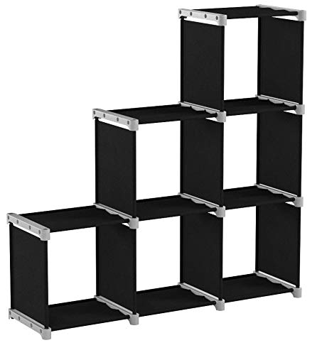 SONGMICS Bibliothèque à 6 Compartiments, Étagère escalier, Meuble de Rangement, Séparateur, pour Salon, Chambre, Salle de Bain, Noir LSN63H