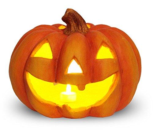 matches21 Jack O' Lantern Halloween Kürbis Windlicht / Laterne Halloweendeko aus Ton 27x23 cm inkl. Flacker LED-Teelicht