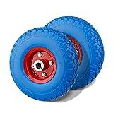 Miafamily PU Rad 3.00-4 Sackkarrenrad Gummirad Vollgummi-Reifen Universal Schubkarren-Reifen PU auf Stahlfelge schwarz mit 80kg Traglast 260x75mm (2 pcs)