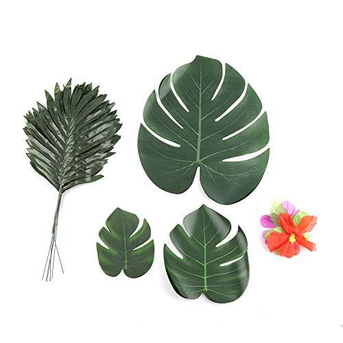 Künstliche tropische Palmenblätter und Seidenblumen für Party, Dschungel, Strand, Dekoration, Tischdekoration, Zubehör, 60 Stück