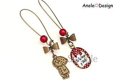 Boucles d'oreille dormeuses Chaperon Rouge - Si le loup y était... nœud pois perles rouge noir beige bronze vintage original rétro romantique