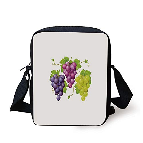 Grape Ivy (Grapes Home Decor,Three Cluster of Ivy Burgundy Region Blending Fresh Picture Artwork,Purple Green Print Kids Crossbody Messenger Bag Purse)