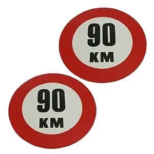 2 x autocollant 90 KM Vitre arrière Voiture Panneau autocollant en vinyle réfléchissant