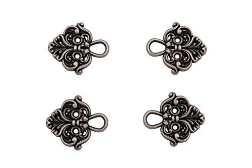Hartmann-Knöpfe 4 Stück (2 Paar) hübsche Miederhaken Miederösen für Dirndl Mieder Coursage Silber antik aus Metall, zum Annähen 22mmx20mm